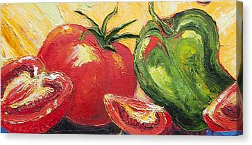 Red Tomato And Green Pepper Canvas Print
