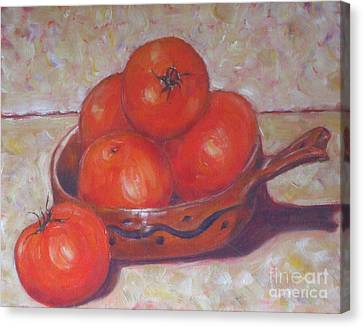 Red Tomatoes In A Dish Canvas Print by Paris Wyatt Llanso