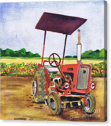 Canvas Print featuring the painting Red Tractor At Rottcamp's Farm by Susan Herbst