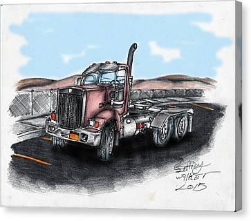 Red Tractor Canvas Print by Geoffrey Walker