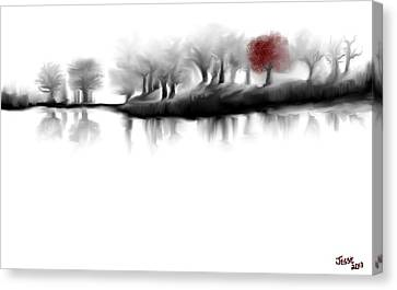 Red Tree Canvas Print by Jessica Wright
