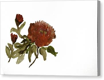 Red Tree Peony Canvas Print by Lesley Rigg