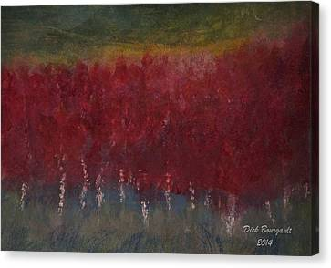 Red Trees Watercolor Canvas Print