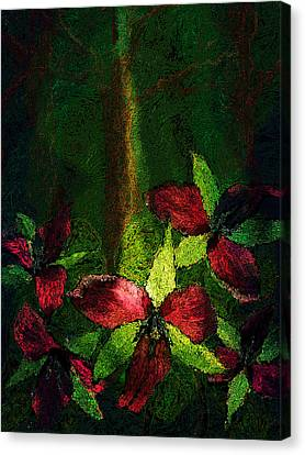 Red Trilliums In Forest Canvas Print by Joy Jolley