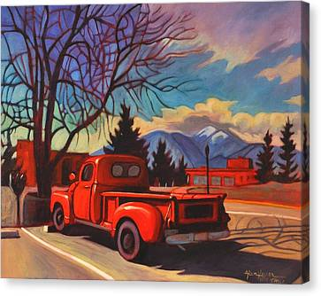 Canvas Print featuring the painting Red Truck by Art James West