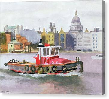 Urban Scenes Canvas Print - Red Tug Passing St. Pauls, 1996 by Terry Scales