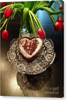 Red Tulip And Chocolate Heart Dessert Canvas Print