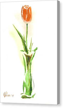 Red Tulip In A Green Vase Canvas Print
