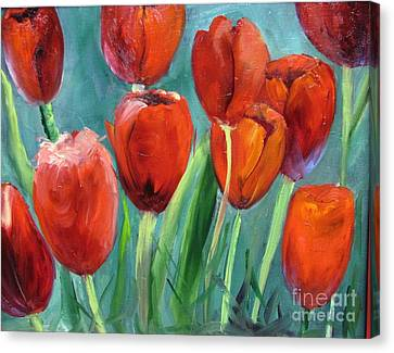 Red Tulips By Barbara Haviland Canvas Print