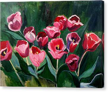 Red Tulips In A Baker's Dozen Canvas Print by Betty Pieper