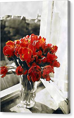 Red Tulips In Window Canvas Print by Linda  Parker