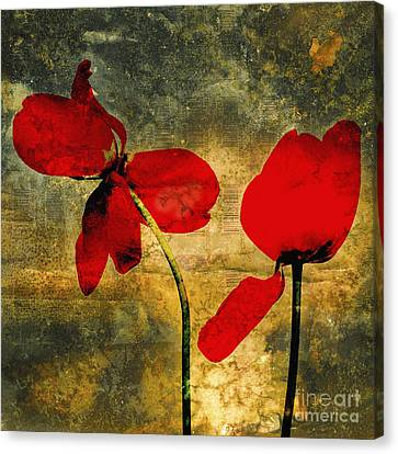 Red Tulips On A Textured Background Canvas Print by Bernard Jaubert