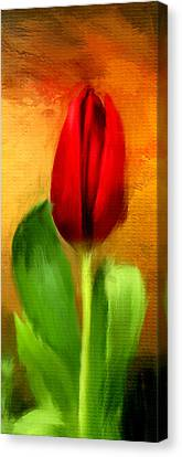 Red Tulips Triptych Section 1 Canvas Print by Lourry Legarde