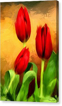 Red Tulips Triptych Section 2 Canvas Print by Lourry Legarde