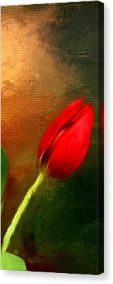 Red Tulips Triptych Section 3 Canvas Print by Lourry Legarde