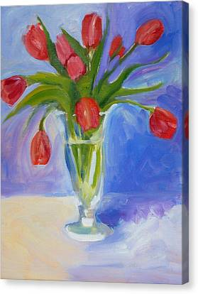 Red Tulips Canvas Print by Valerie Lynch