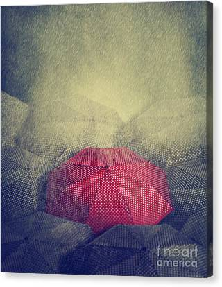 Red Umbrella Canvas Print by Jelena Jovanovic