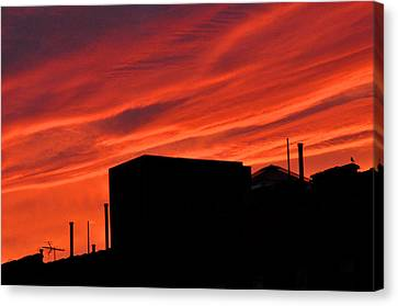 Red Urban Sky Canvas Print by Diane Lent