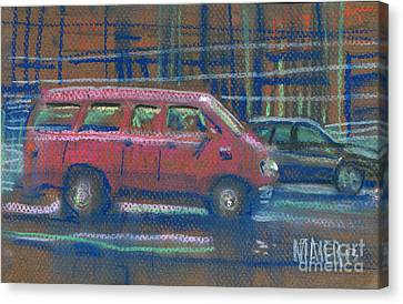 Canvas Print featuring the painting Red Van by Donald Maier