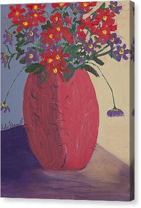 Red Vase Of Flowers Canvas Print by Kate Farrant