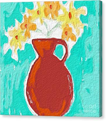 Red Vase Of Flowers Canvas Print by Linda Woods