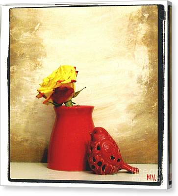 Red Vase Red Bird And Red Yellow Rose Canvas Print