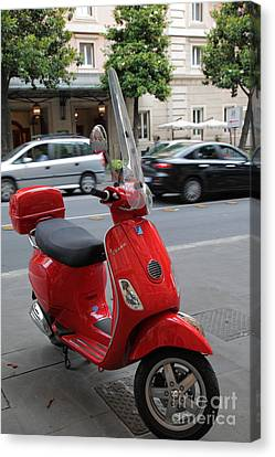 Red Vespa Canvas Print by Inge Johnsson