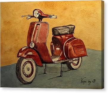 1960 Canvas Print - Red Vespa by Juan  Bosco