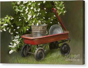 Wagon Canvas Print - Red Wagon by Lena Auxier