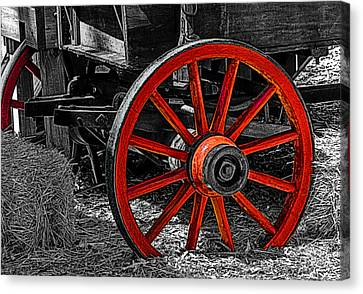Red Wagon Wheel Canvas Print by Jack Zulli