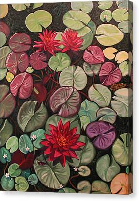 Red Water Lilies Canvas Print