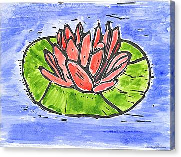 Red Waterlily Canvas Print by Lynn-Marie Gildersleeve