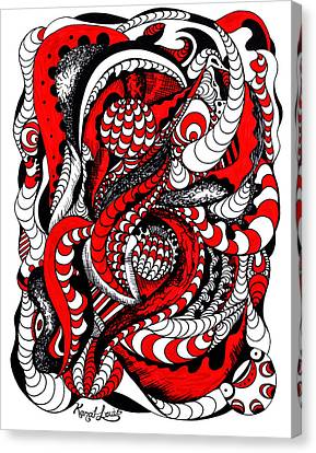 Red Wave Of Thoughts Canvas Print by Kenal Louis