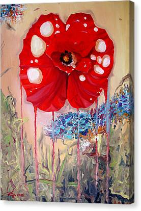 Canvas Print featuring the painting Red Weed Red Poppy by Daniel Janda