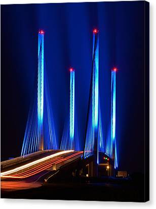 Red White And Blue Indian River Inlet Bridge Canvas Print by William Bartholomew