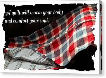 Red White And Blue Quilt With Quote Canvas Print
