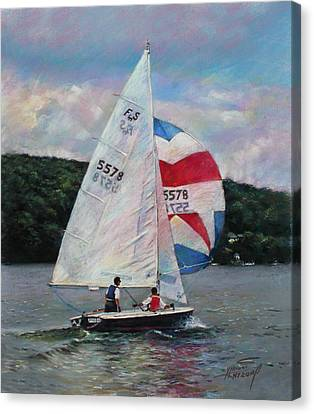Canvas Print featuring the drawing Red White And Blue Sailboat by Viola El