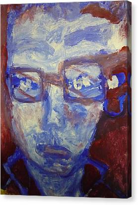 Face Canvas Print - Red White And Blue by Shea Holliman