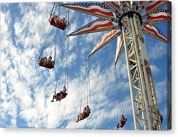Red White And Blue Swings At Coney Island Canvas Print by Diane Lent