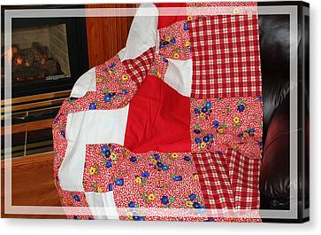 Red White And Gingham With Flowery Blocks Patchwork Quilt Canvas Print by Barbara Griffin