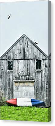 Maine Barns Canvas Print - Red White Blue Canoe by Diana Angstadt