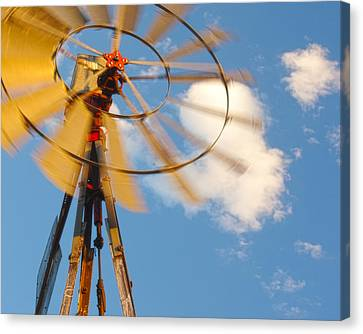 Red Wind Windmill Canvas Print