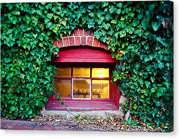 Red Window At The Ivy Corner Black Mountain Nc Canvas Print by Mela Luna