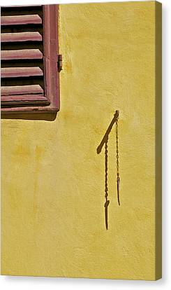 Red Window Shutter Of Tuscany Canvas Print