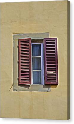 Red Window Shutters Of Florence Canvas Print