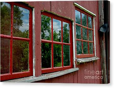 Canvas Print featuring the photograph Red Windows Paned by Christiane Hellner-OBrien