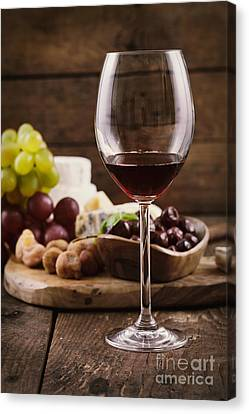 Red Wine And Cheese Canvas Print by Mythja  Photography
