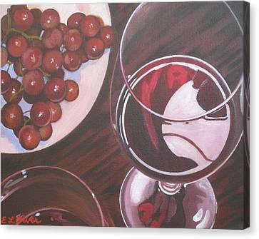 Red Wine And Grapes Canvas Print by Elisabeth Olver