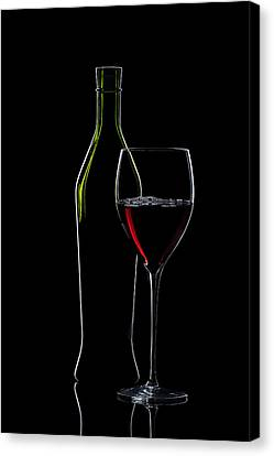 Red Wine Bottle And Wineglass Silhouette Canvas Print by Alex Sukonkin