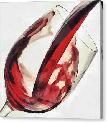 Red Wine  Into Wineglass Splash Canvas Print